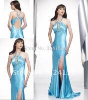 2014Best Selling Column Cheap Halter Light Blue Beading Ankle Length Wild  Evening Dress Prom Party  Dresses