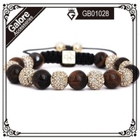 2013 hot sale online sales tresor paris tiger eye rose gold shamballa bracelet with cheap prices semi precious stone