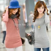 Free Shipping Wholesale Retail 2015 Autumn Winter Women's Fashion Wool Sweaters Dress Casual Outerwear Medium-Long Knitwear