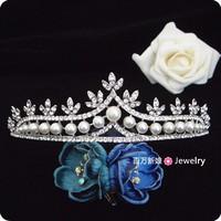 Free shipping vintage rhinestone butterfly tiara bridal wedding pearl jewelry