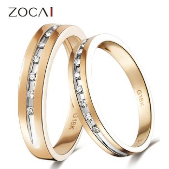 2 zocai орбиту 0,16 карата ч/алмазов си его и ее обручальное кольцо кольца мноёеств круглый cut 18k дула цвет роуз белое золото бесплатная доставка