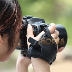Camera Black Leather Soft Wrist Strap/Hand Grip for Canon Nikon Sony SLR/DSLR(China (Mainland))