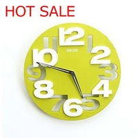 Hot Sale!Creative Number Wall Clock Plastic &Round Clock 3D Figure Fashionable Clock