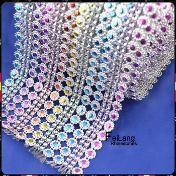 F872001 fashion plastic mesh 16rows rhinestone mesh trimming CPAM free 10 yards/roll good quality fashion plastic mesh fabric