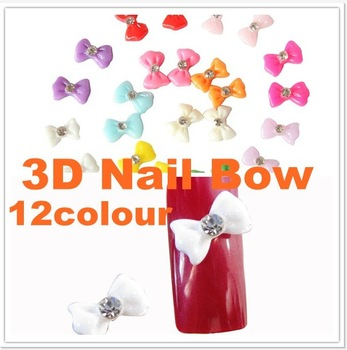 Free shipping 1200pcs 3D Nail Art Bow sticker Acrylic Slices Rhinestones Nail Art Tips DIY 12 Colors for 3D Salon Nail