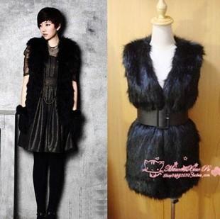 2014 new fashion woman Faux fur vest  coat  medium-long solid color