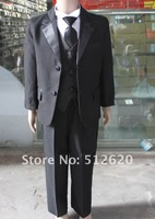 NEW BLACK TUXEDO BOY'S FORMAL SUIT size 2 4 6 8 10 12 13  Free Shipped