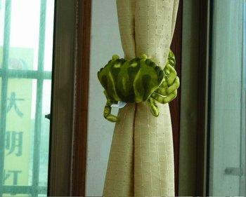 2012 Free Shipping Factory Shipment  27cm 4Pcs/Lot Green Crab Window Curtain Hook Tieback Curtain Buckle Belt Clamp Clip Hook