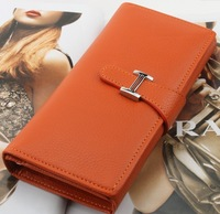 Free Shipping 2013 new arrival cowhide long design women's wallet genuine leather wallets purses fashion bag