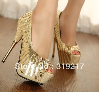 Free shipping Party Shoes Shine Sequins Gold Platform  Peep Toe Women's High Heels Pump Shoes Top quality