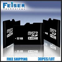 30pcs/lot free shipping 100% full capacity  4GB 8GB Class 4/6 16GB 32GB class 10 micro sd memory card + TF card adapter