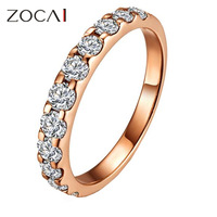 ZOCAI NATURAL 0.45 CT CERTIFIED SI / H ROUND CUT 18K ROSE GOLD DIAMOND  SEMI-ETERNITY WEDDING BAND RING W02411