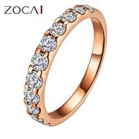 ZOCAI NATURAL 0.55 CT CERTIFIED SI / I-J ROUND CUT 18K ROSE GOLD DIAMOND  SEMI-ETERNITY WEDDING BAND RING W02411