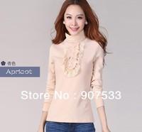 2012 large size dress splicing lace turtle neck long sleeve T-shirt,S-XXXL