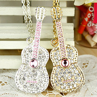 Free Shipping Jewelry Crystal Bling Guitar USB Flash 2.0 Memory Drive Sticks Pen Disk 4GB 8GB 16GB 32GB 64GB
