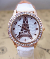 Eiffel Tower Women Gril Wholesale fashion leather strap quartz watch,Dress wrist watches Ladies FS24