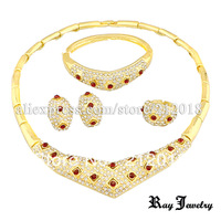 Buy 2 get 1 free, Free shipping Red Crystal Fashion Jewelry Sets