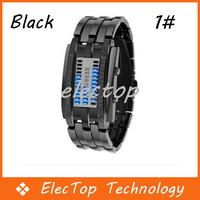 Free shipping Fashion Digital Watch Blue LED Metal Band Boys Mans Gift Black/Silver 10pcs/lot Wholesale