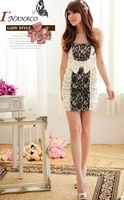 Freeshipping Romance Color Bow Tube Top Dress One-Piece Dress Tz-Dr001