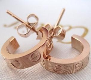 Titanium hoop earrings plated 14K rose gold   excellent quality
