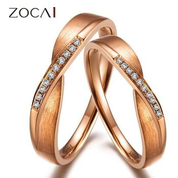 zocai 0,07 ct сертифицированный ч/алмазов си его и ее обручальное кольцо кольца наборы для любителей круглый cut розового золота 18к