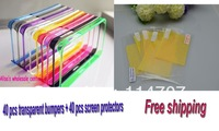 40pcs transparent bumper+40pcs clear screen protectors( 40pc film+40pc cloth) for iphone 5 5s, Free shipping