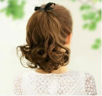 "Free shipping-New arrival summer  girls' 10"" short curl ponytail synthetic hair extension 3colors, high quality"