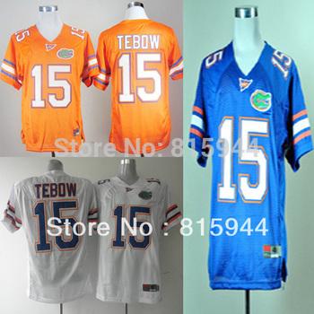 Florida Gators #15 Tim Tebow blue/ white/ orange ncaa football jerseys size 48-56 mix order free shipping