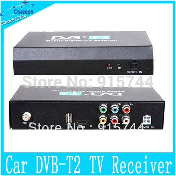 5pcs/lot  40km/h Car DVB-T2 Mobile Digital TV Receiver max MPEG2/4 H.264 Decoding 1080P HD TV tuner for russia HDMI EMS/DHL free