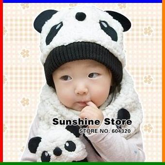 Sunshine Store  #2C2582 5 set/lot Cartoon Panda Baby Hat and Scarf Set, Kids Winter  Fleece Hat Scarf, Toddler/children Cap CPAM