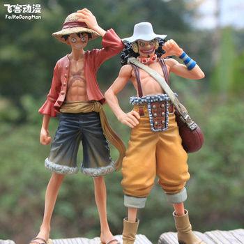 2 pcs/set One Piece action figure Japanese Anime Luffy + Usopp 2 years later PVC 16cm toys free shipping