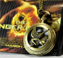 A305 Free shipping Vintage Unique Large Large hunger game Steampunk Pocket Watch Necklace(China (Mainland))
