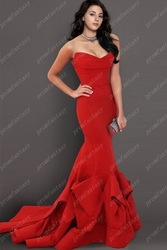 Free Shipping Wholesale New Arrivals Celebrity Style 2013 Sexy Red Mermaid Evening Dresses Cheap Formal Gowns(China (Mainland))