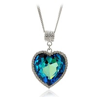 Neoglory Heart of Ocean blue Crystal Titanic Sweater Necklace Jewelry NC-138 Pendant  Rihood Valentine's day gift 73cm long