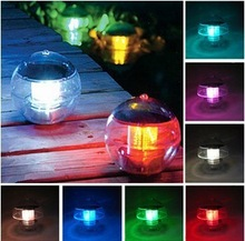 Free shipping 2pcs/lot solar floating lamps IP68 waterproof outdoor pool light lighting sensor+ red/blue/green/white/yellow/RGB(China (Mainland))
