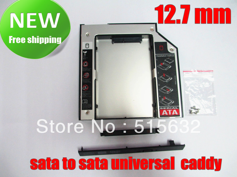 2nd SSD HDD HD Hard Disk Driver Caddy SATA for 12.7mm CD / DVD-ROM Optical Bay Universal caddy(China (Mainland))