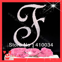 "4 3/4"" height French Script  Monogram Rhinestone cake toppers for Wedding cake, FREE SHIPPING (20 pcs /lot), fast delivery"