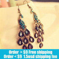 Fashion retro beautiful blue peacock earrings jewelry wholesale free shipping  long Tassel  earrings jewelry for women 2014 PT31