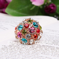 50% OFF Min.order is $15 (mix order) Fashion Colourful Rinestones  Classic Jewelry Rings Free Shipping R2071