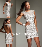 2014Hot sale SEXY New Jewel Cheap Mini Beading satin White Cocktail Dress Prom Party  Dresses