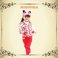 2014 Strawberry Print Girls Winter Fleece Warm Children Baby Girls Sets Hoodies Winter Girls Track Suit