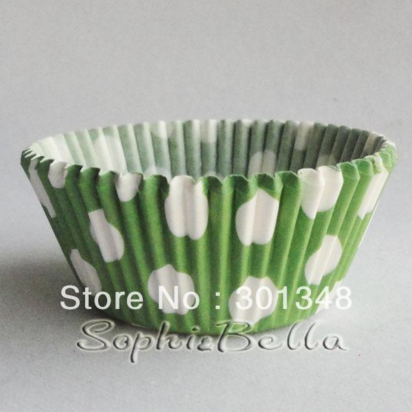 300pcs b257 зеленый горошек бумажные cupcake