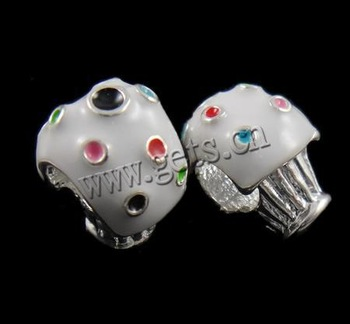 Free shipping!!!Zinc Alloy European Beads,Wholesale Jewelry, with enamel, without troll, nickel, lead & cadmium free, 12x10x8mm