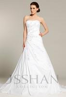 12W026 Strapless Pleated Applique A-Line Taffeta Train Gorgeous Luxury Unique Brilliant Bridal Wedding Dress wedding gown