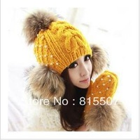 Autumn and winter hat raccoon hair ball sweet fashion pearl yarn hat outdoor cap women's cap Free shipping