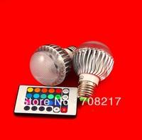 Hot Sale!!! Free shipping  12W E27 RGB LED Light Lamp Bulb Spotlight with Remote Control  AC85-260V