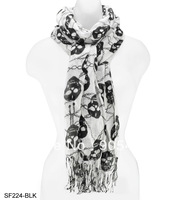 Free shipping Skull print women fashion scarf elastic fashion ladies scarves SF224