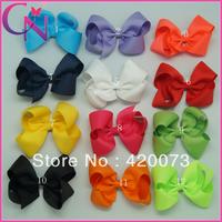 40pc/lot High Quality hair accessories 6 inch hair bow hair clip with handmade hair flower(CNSMT-1217)
