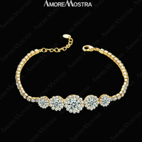 Elegance Adjustable Fashion 18K Yellow Gold Plated Austria Clear Crystal Bangle Shinning Sapphire Bracelet B043Y1