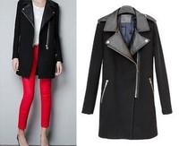 WOMENS ZA WOOL PU LEATHER COLLAR Zipper long jacket coat trench parka outwear